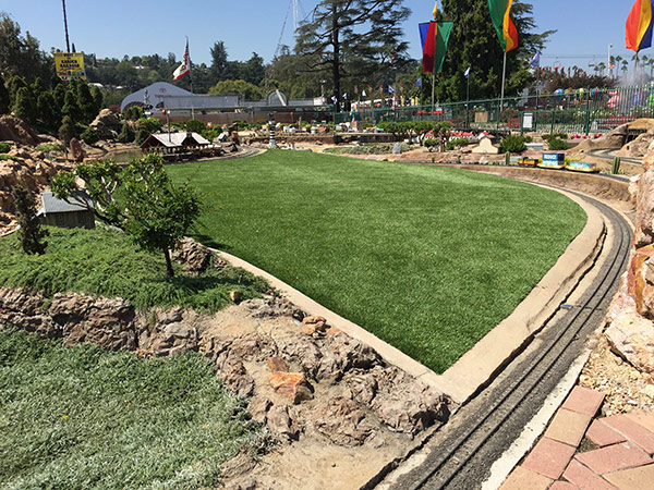 Purchase Green was chosen to replace the layout's thirsty lawns with an ultra-realistic, long-lasting and eco-friendly alternative.